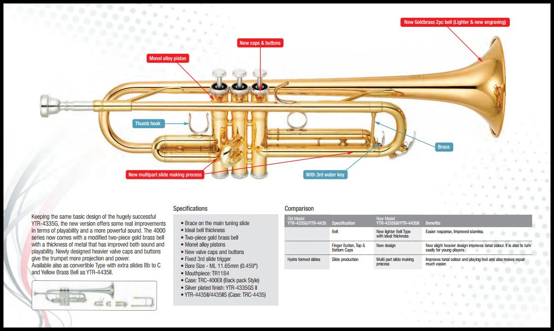 Yamaha ytr 4335 gii bb trompet den lille basun as for Yamaha ytr 4335gs ii