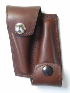 Torpedobag Munnstykkefutteral i tykt skinn - dobbel sort