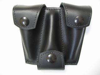 Torpedobag Munnstykkefutteral i tykt skinn - trippel sort