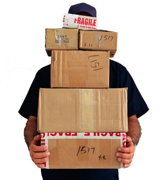 Mann med mange pakker
